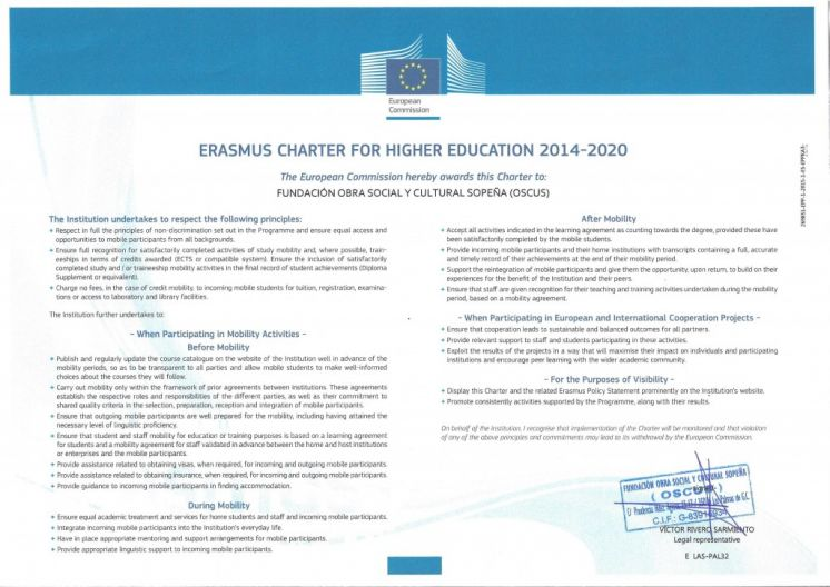 OSCUS gets the ERASMUS charter for higher education